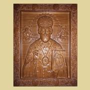 Икона резная из дерева Николай Чудотворец (дерево-ясень, размеры 340х270х30) фото
