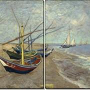 Модульная картина Рыбацкие лодки на пляже в Сент-Мари, Винсент ван Гог фото