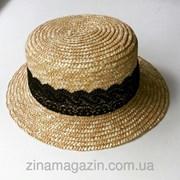 Шляпка канотье (с ажурной лентой) фото