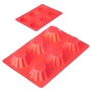 Форма силиконовая 6 ячеек, для кексов, гофрированная, 25.5x18x3.5см, 4 цвета, HS-027, 891-005 фото