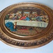 Декоративная тарелка, деревянная, из образом фото