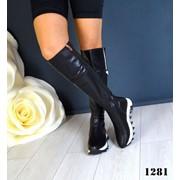 Женские зимние ботфорты из кожи или замши с зубчастой подошвой. ДС-15-1118 фото