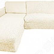 Натяжной чехол на угловой диван с выступом слева Еврочехол Еврочехол «Микрофибра. Ваниль» фото