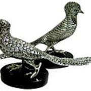 Пара статуэток бронзовых фазанов с серебрением фото