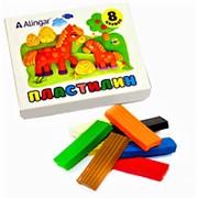Пластилин 105434 Alingar AL 6303 цветной ( 8 цветов ) без стека для лепки 120 гр. ( цена за 1 уп.) фото