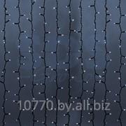 """Гирлянда """"Светодиодный Дождь"""" 2х1,5м, постоянное свечение, темно-зеленый провод, 220В, диоды БЕЛЫЕ, NEON-NIGHT фото"""