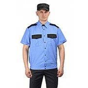 """Рубашка мужская """"Охрана"""" кор. рукав на резинке, голубая с черным. Размер 40 Рост 182 фото"""