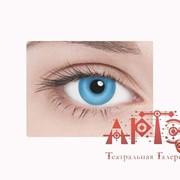 Линзы контактные неоновые, голубые фото