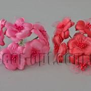 Букет тканевых цветов с органзой 5см/6шт TF975 570538 фото
