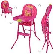 Складной стульчик для кормления трансформер 2в1, съемный столик и панель фото