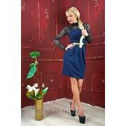 Платье темно-синее + черный гипюр/ПОЯС В КОМПЛЕКТЕ Платья для коктейля фото