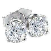 Серьги золотые гвоздики с бриллиантами SI1/G 1,20 Ct фото