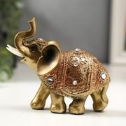 """Сувенир полистоун """"Слонёнок в золотой попоне с кристаллами"""" 10,5х11х4,5 см фото"""