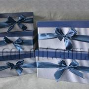 Коробки сине-полосатые 5 шт 4235 фото
