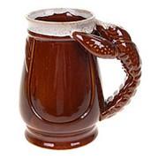 Кружка для пива ЕВРО Коричневый 1 Литр, ручка рак, 749032 фото