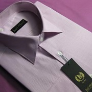 Сорочка мужская с длинным рукавом розовая в светлую тонкую полосу фото