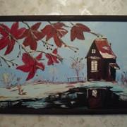Картина написанная маслом Зимний домик фото