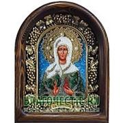Золотошвейные мастерские, Дивеево Иоанна Мироносица, праведная, дивеевская икона ручной работы из полудрагоценных камней и бисера Высота иконы 17 см фото