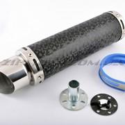 Глушитель тюнинг 300*90mm, креп. Ø48mm нержавейка, мрамор черный, прямоток, тип:2 фото