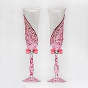 Свадебные бокалы с розовой росписью (арт. WG-003) фото