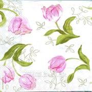 Салфетка для декупажа Романтические тюльпаны принт фото