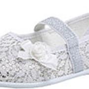 531040-73 серебряный туфли дошкольно-школьные текстиль Р-р 28 фото