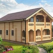 Двухэтажный дом из двойного бруса «Великий Гетсби» фото