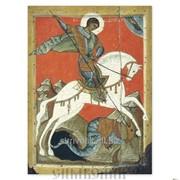 Икона св. Георгий Победоносец, Чудо Георгия о змие конец XIV - начало XV вв. Новгород фото