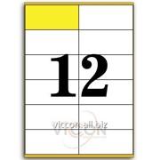 Этикетки самоклеящиеся белые, 12 на листе. размеры: 105 x 48 mm EADZ12 фото