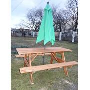 Дачная садовая деревянная мебель стол с лавками фото