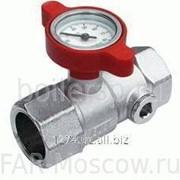 """Шаровый кран с термометром, 1"""" ВР-ВР, хромированный, красная ручка, артикул FS 3048 1R фото"""