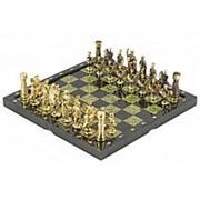 "Шахматы ""Римские"" из бронзы и змеевика 36х36 см фото"