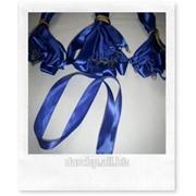 Лента атласная 25 мм, синяя фото