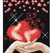 Картина стразами Два сердца 38х42 см фото