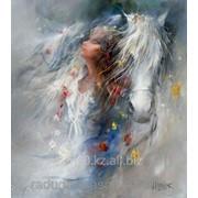 Картина по номерам Девушка и белый конь фото