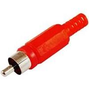 Разъём RCA, штекер в пластиковом корпусе, под пайку, на кабель, красный фото