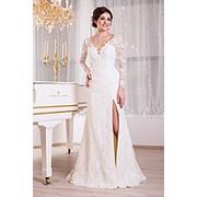 Вечернее платье молочное кружевное V845 фото