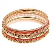 Браслет-кольца 6 колец Невесомость , цвет персиковый в темном золоте фото
