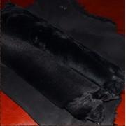 Дубленочный велюр, овчина, цвет - черный. фото
