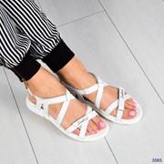 Женские кожанные сандали на липучках. ДС-4-0618 фото