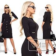 Платье футляр с пуговицами - Черный фото