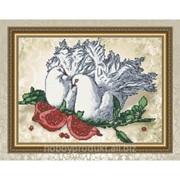 """Рисунок на ткани для вышивания бисером """"Голуби и гранат"""" VKA3067 фото"""