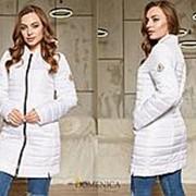Модная удлиненная женская курточка в стиле Moncler из водоотталкивающей ткани лаке с утеплителем силикон фото