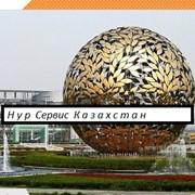 Фонтан скульптура H4m Круг с металлизированными листьями фото