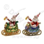 Декор Санта в санях стекл. 4,5x10,5x12см фото