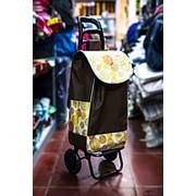Универсальная сумка-тележка на двух колесах 32х30х100см темно-коричневая с цветными кругами фото
