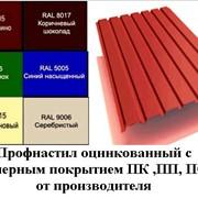 Профнастил оцинкованный с полимерным покрытием ПК ,ПП, ПС-18 RAL 3005 (спелая вишня), RAL 8017 (коричневый шоколад), RAL 6005 (зеленый), RAL 5005 (синий), RAL 1015 (бежевый, слоновая кость), RAL 9006 (серебро). фото