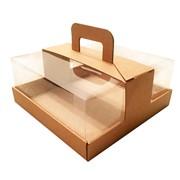 Коробка для торта до 2 кг c прозрачной пластиковой крышкой и ручкой. Р-р 240*240*110 мм бур/бур фото