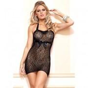 Черное платьице с леопардовой текстурой L-86569 фото