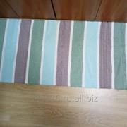 Handwoven cotton rug runner 4 wide stripes /Домотканый коврик- дорожка из хлопка 4 полосы. фото